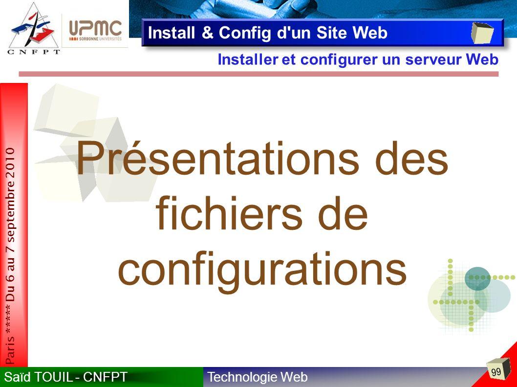 fichiers de configurations