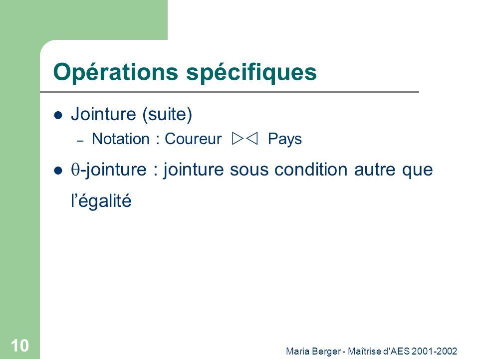 Opérations spécifiques