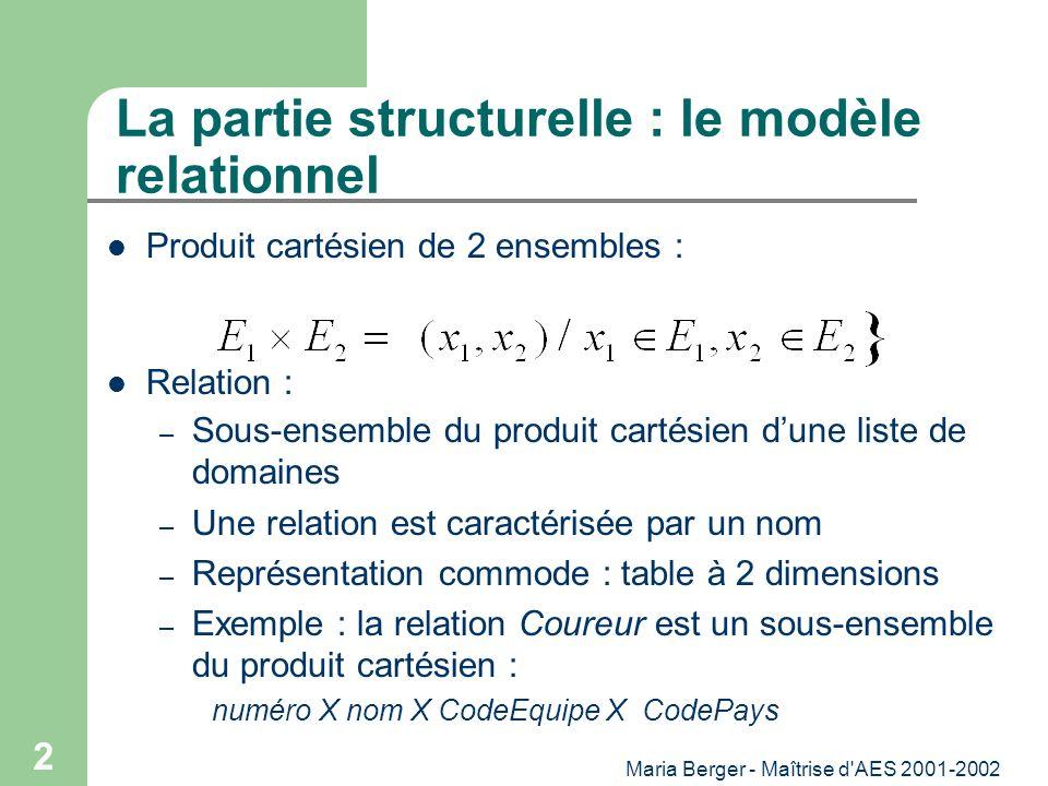 La partie structurelle : le modèle relationnel