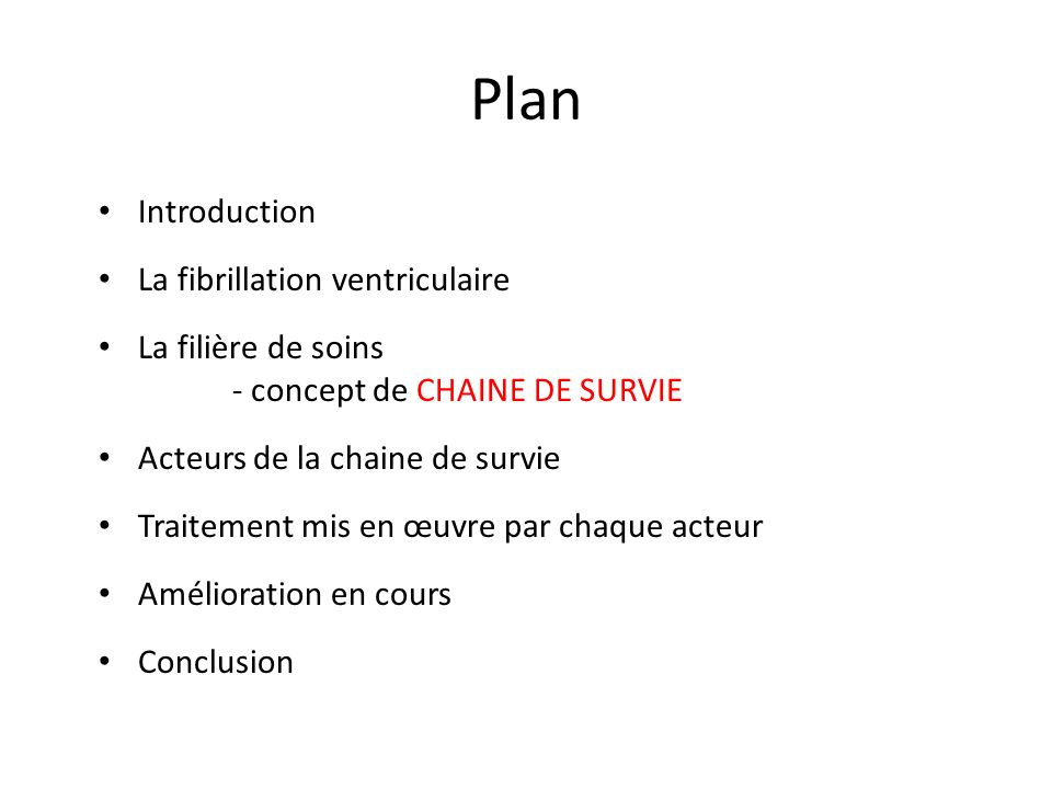 Plan Introduction La fibrillation ventriculaire
