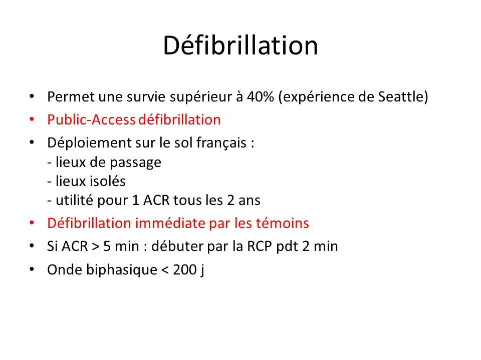 Défibrillation Permet une survie supérieur à 40% (expérience de Seattle) Public-Access défibrillation.