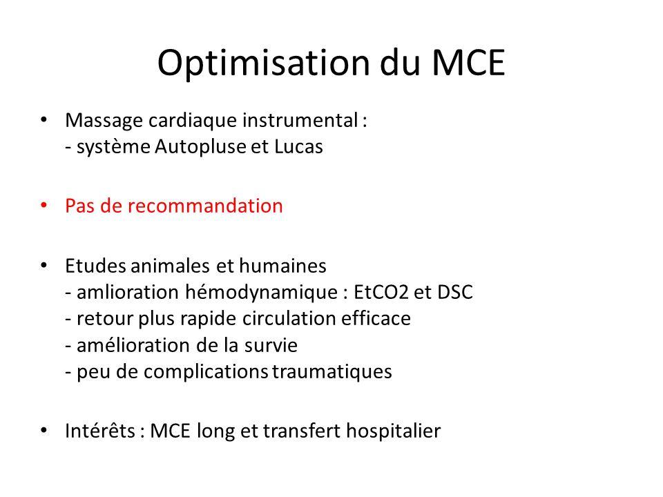 Optimisation du MCE Massage cardiaque instrumental : - système Autopluse et Lucas. Pas de recommandation.