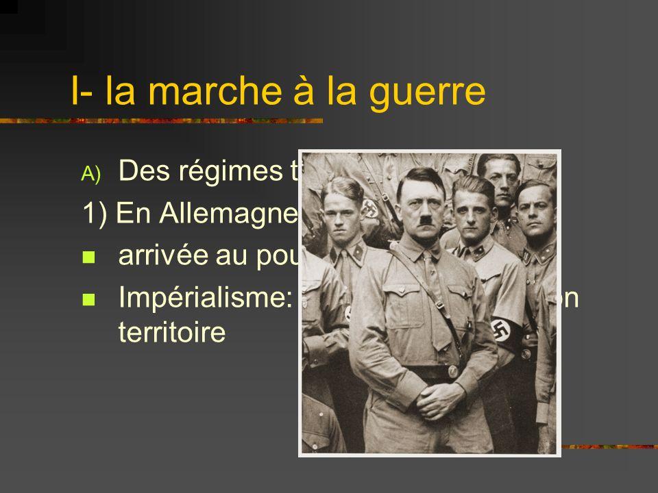 I- la marche à la guerre Des régimes totalitaires agressifs