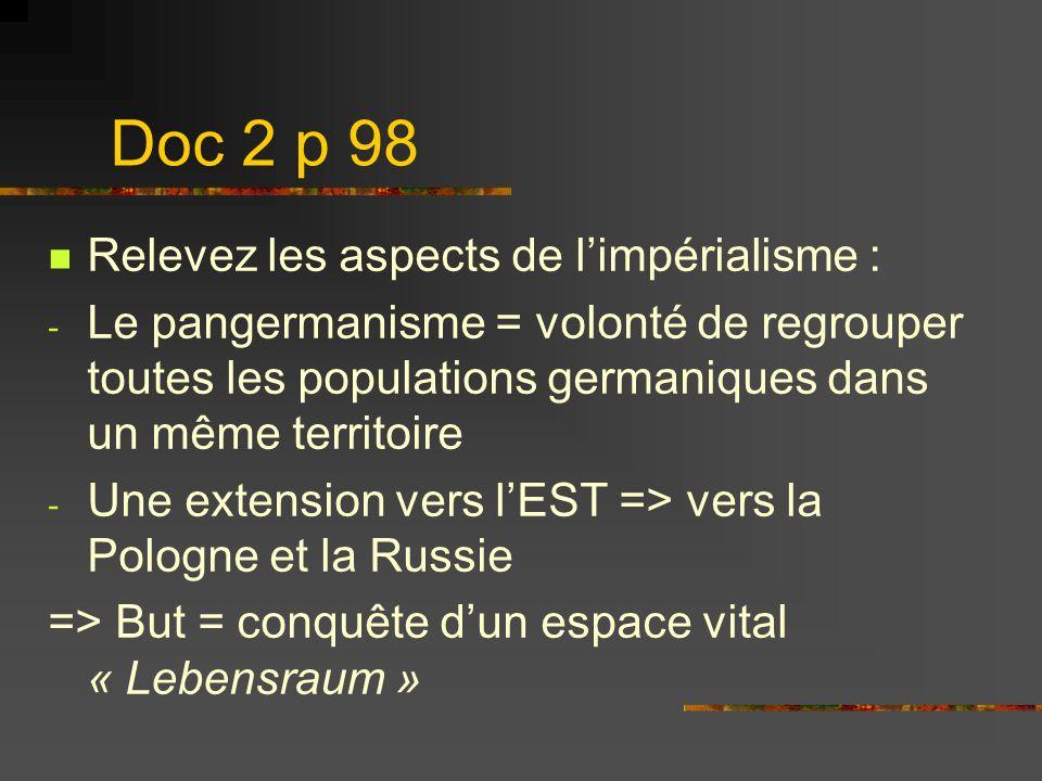 Doc 2 p 98 Relevez les aspects de l'impérialisme :