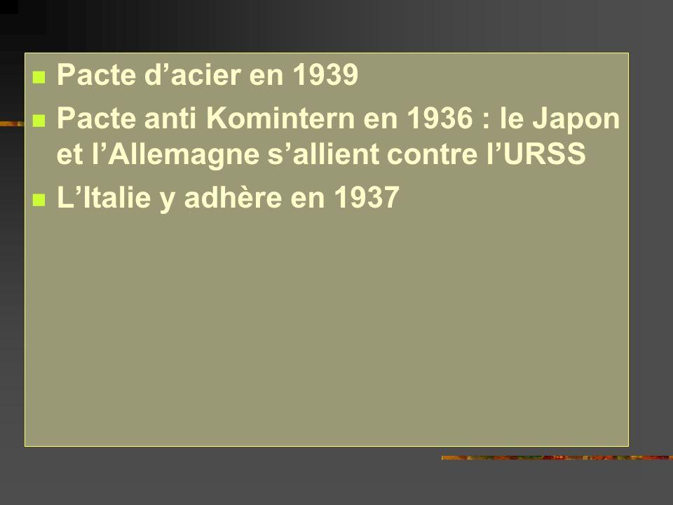 Pacte d'acier en 1939 Pacte anti Komintern en 1936 : le Japon et l'Allemagne s'allient contre l'URSS.