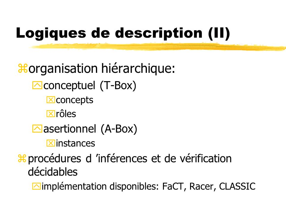 Logiques de description (II)