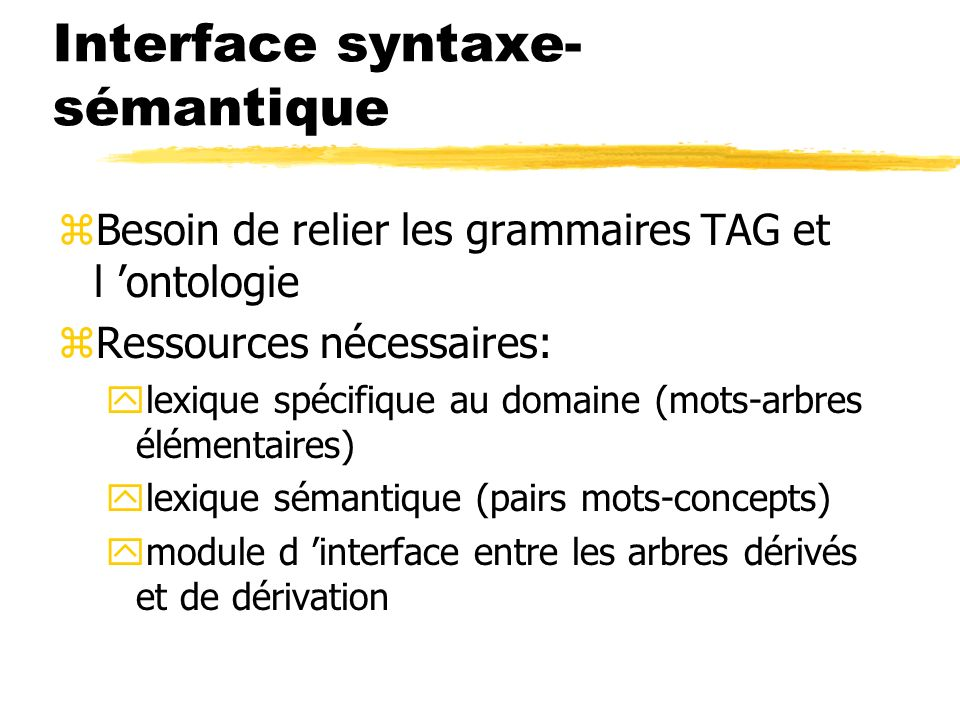 Interface syntaxe-sémantique