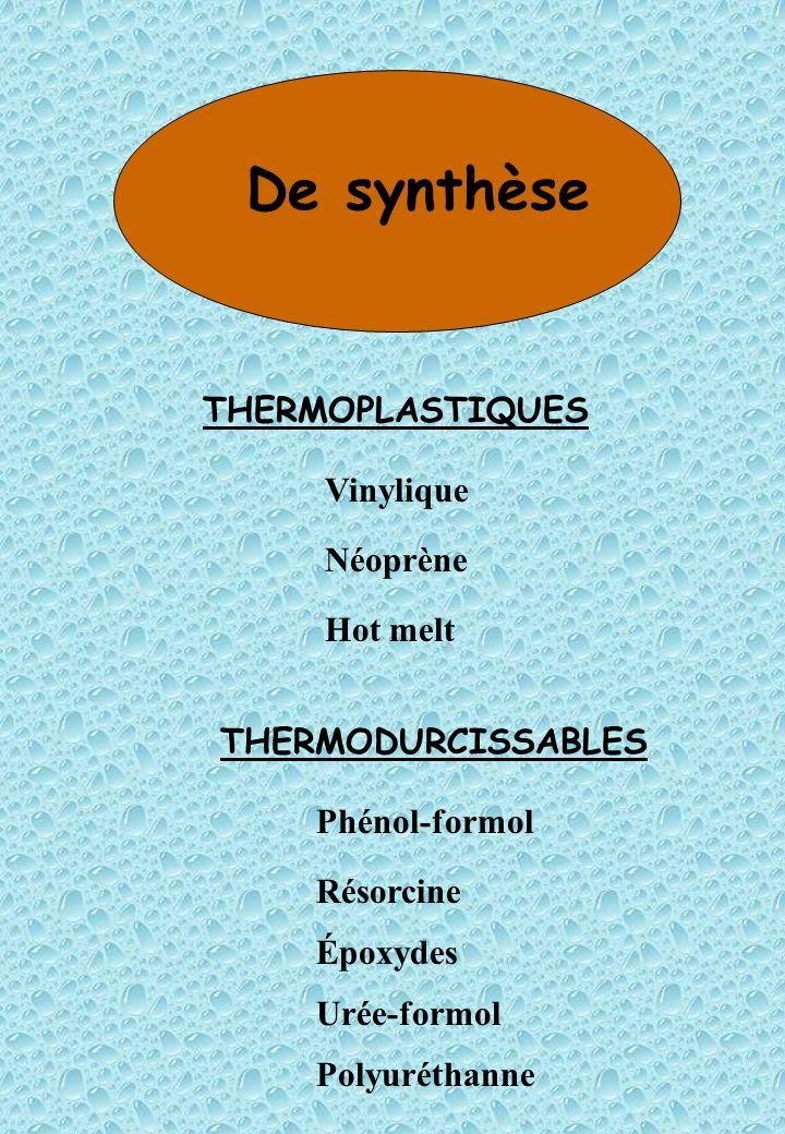De synthèse THERMOPLASTIQUES Vinylique Néoprène Hot melt