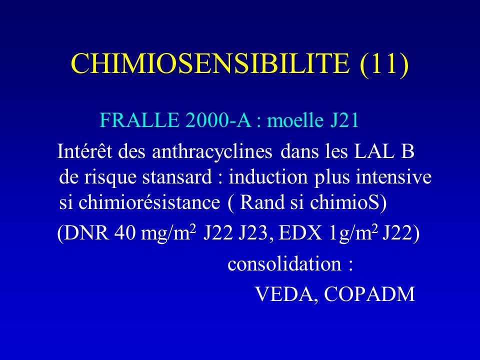 CHIMIOSENSIBILITE (11) FRALLE 2000-A : moelle J21