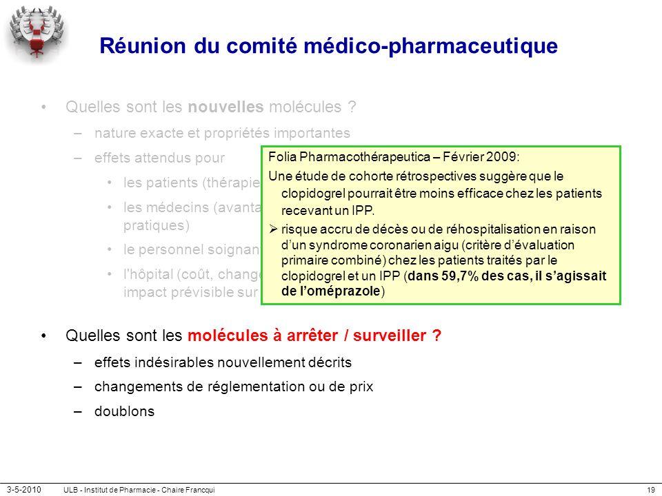 Réunion du comité médico-pharmaceutique