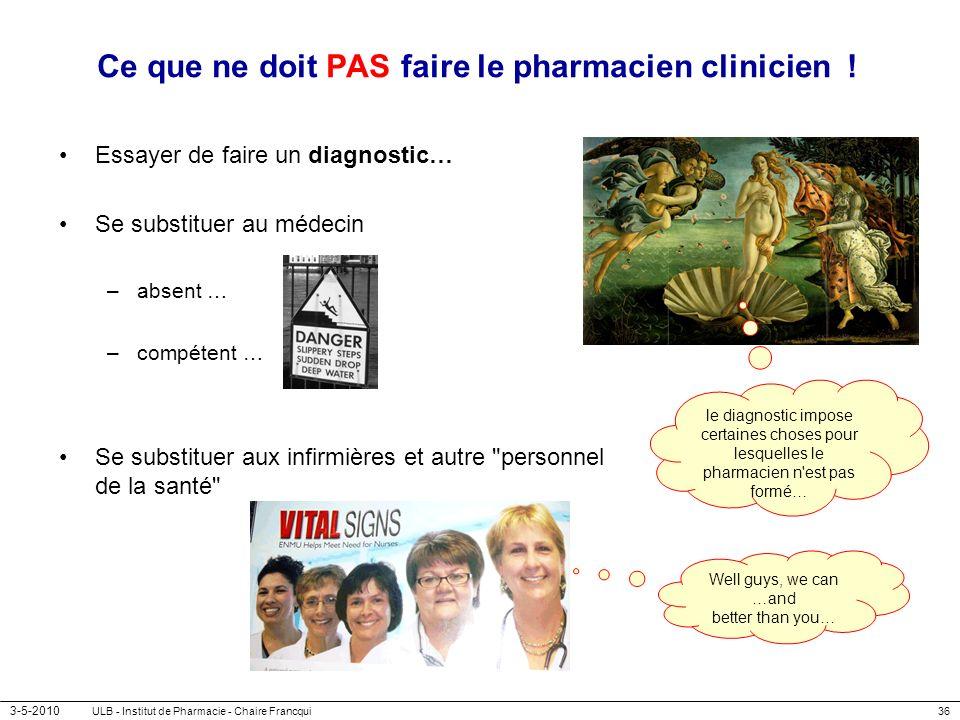 Ce que ne doit PAS faire le pharmacien clinicien !