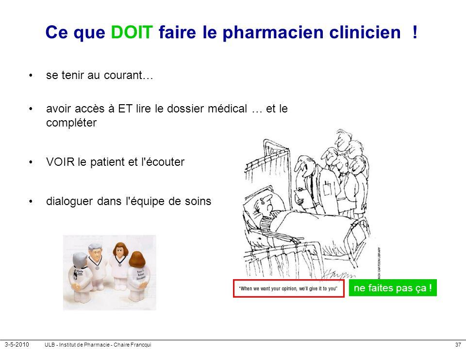 Ce que DOIT faire le pharmacien clinicien !