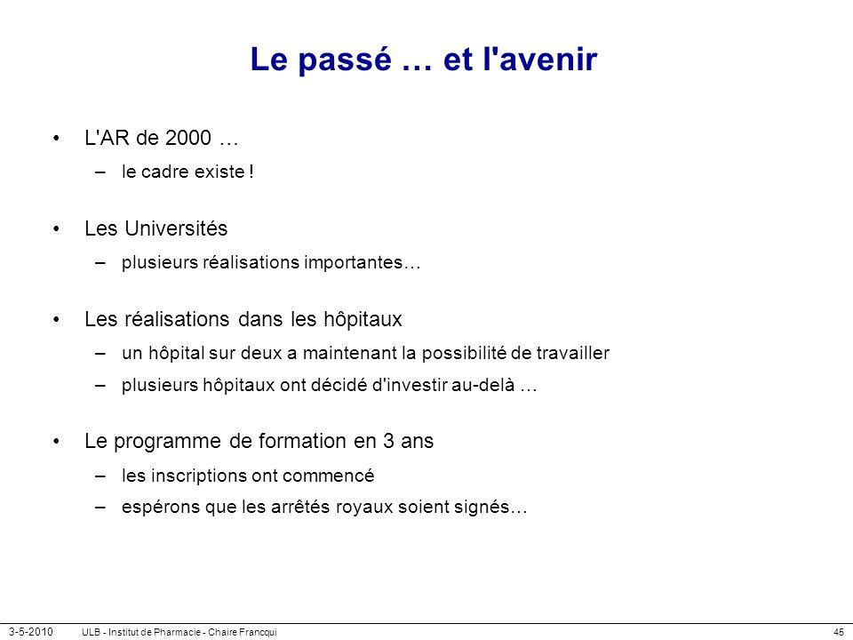Le passé … et l avenir L AR de 2000 … Les Universités