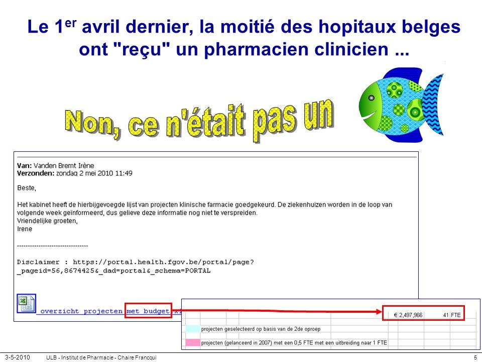 Le 1er avril dernier, la moitié des hopitaux belges ont reçu un pharmacien clinicien ...