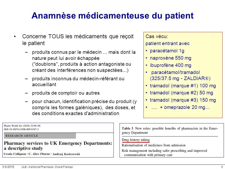 Anamnèse médicamenteuse du patient