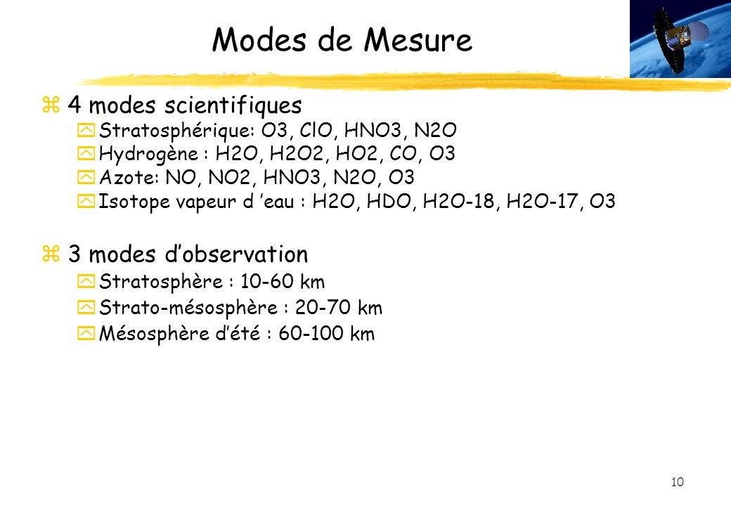Modes de Mesure 4 modes scientifiques 3 modes d'observation