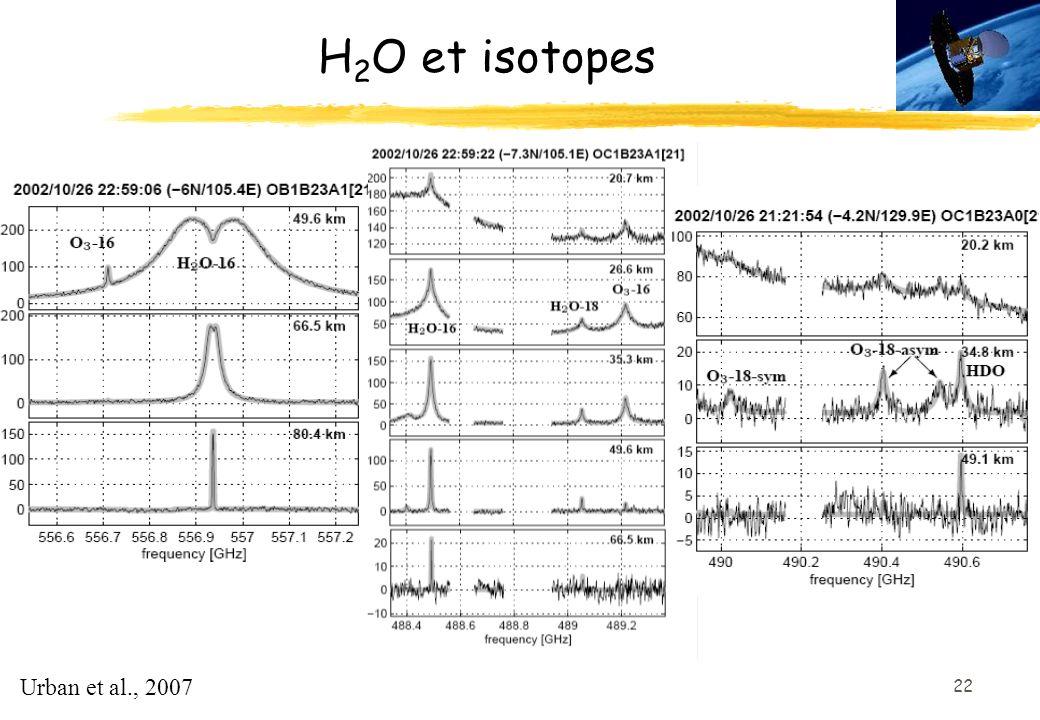 H2O et isotopes Urban et al., 2007