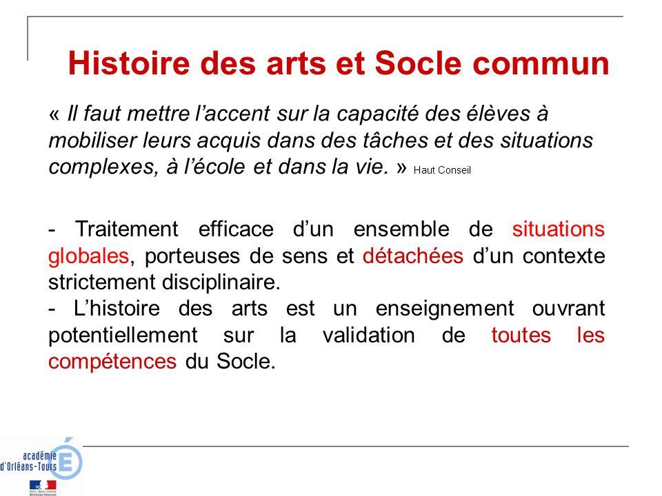 Histoire des arts et Socle commun