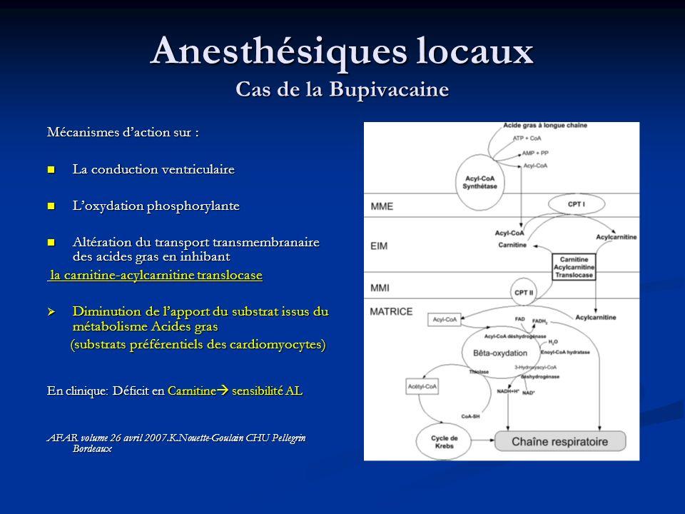 Anesthésiques locaux Cas de la Bupivacaine