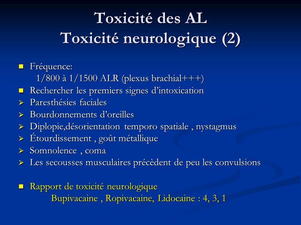 Toxicité des AL Toxicité neurologique (2)