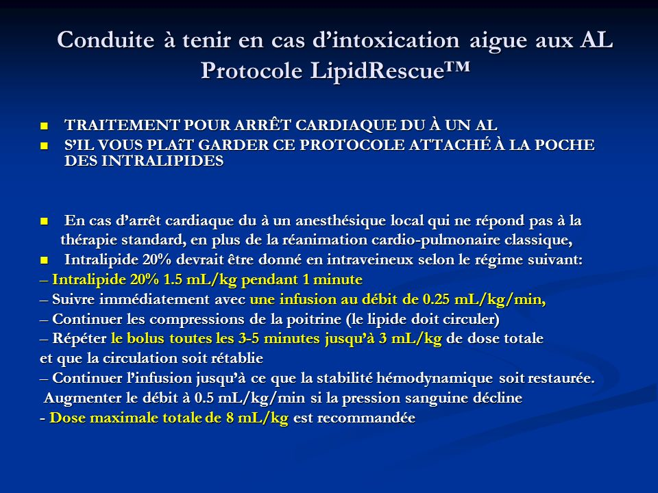 Conduite à tenir en cas d'intoxication aigue aux AL Protocole LipidRescue™