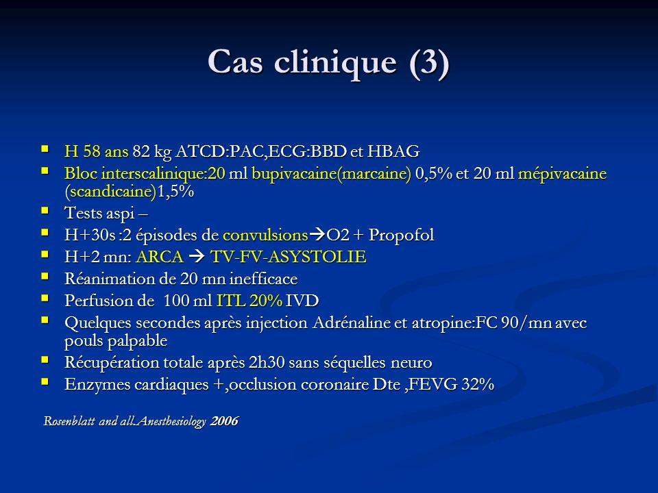 Cas clinique (3) H 58 ans 82 kg ATCD:PAC,ECG:BBD et HBAG