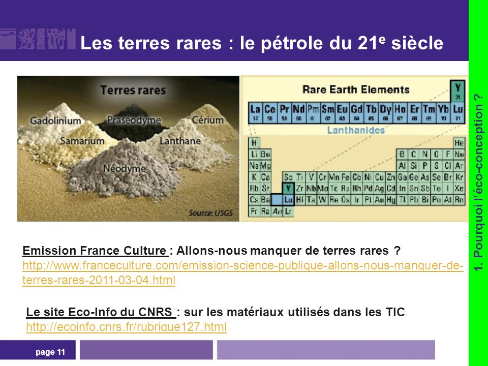 La classification des terres rares