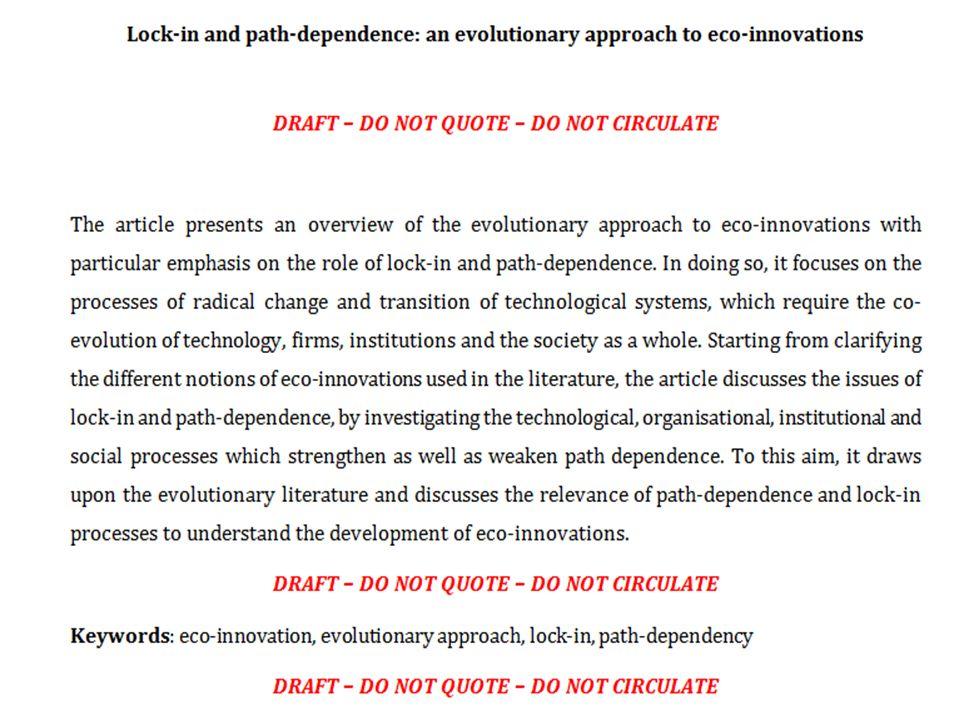 Définitions Rennings (2013): les éco-innovations ne résultent pas forcément d'objectifs environnementaux.