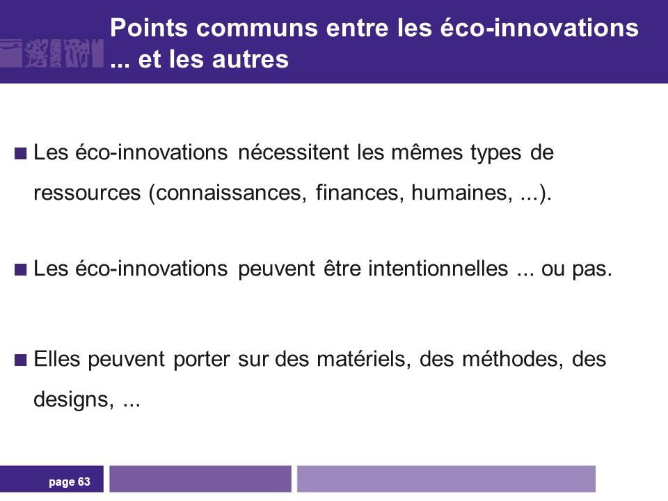 Différences entre éco-innovations innovations non environnementales