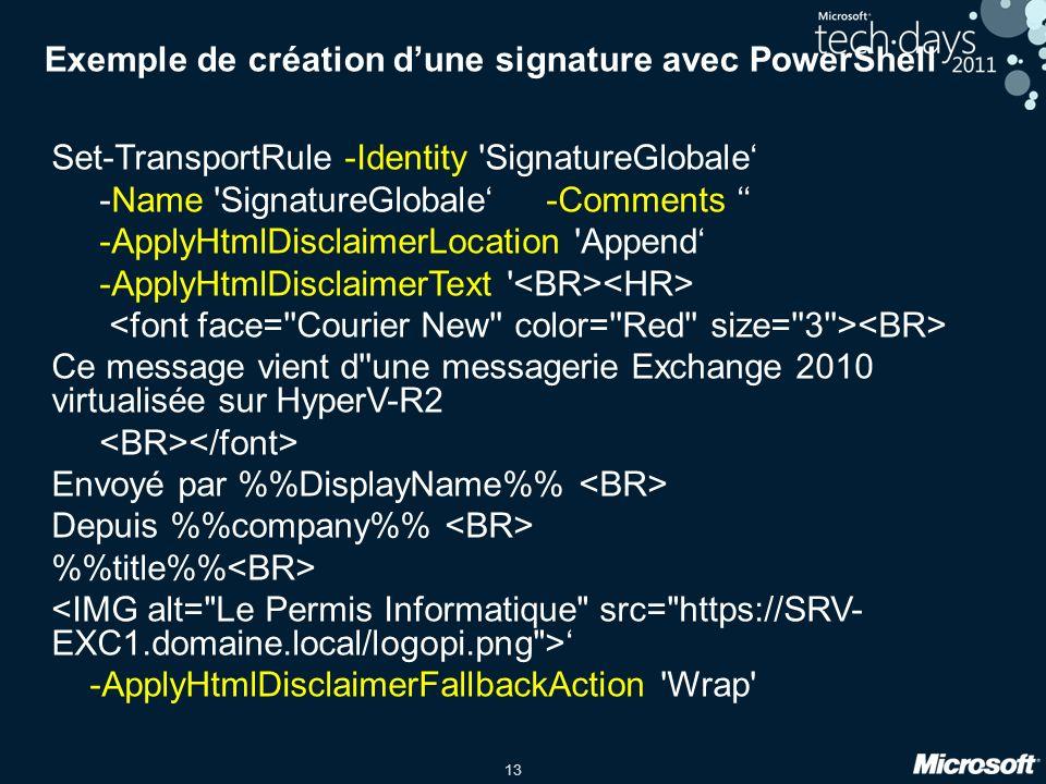 Exemple de création d'une signature avec PowerShell