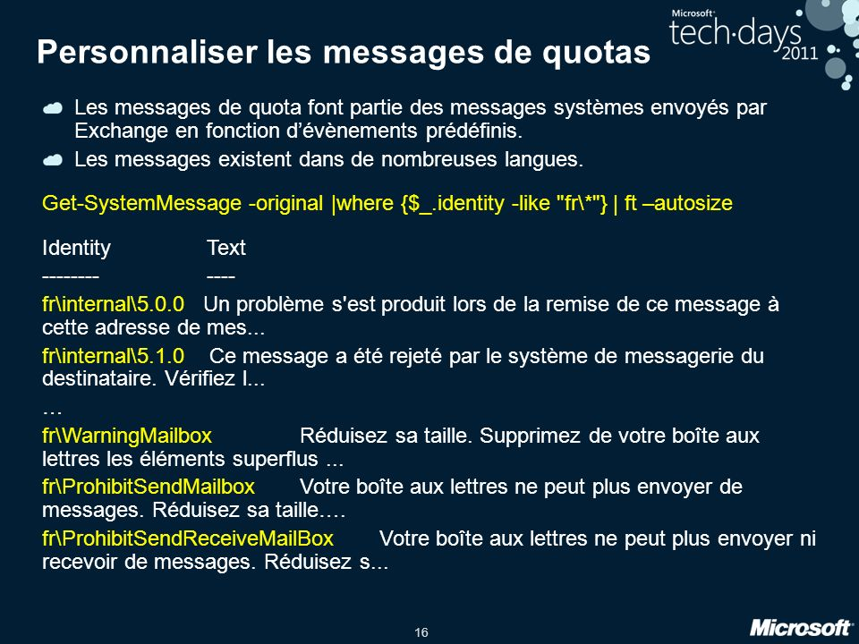 Personnaliser les messages de quotas