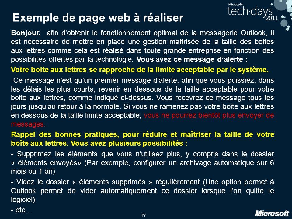Exemple de page web à réaliser