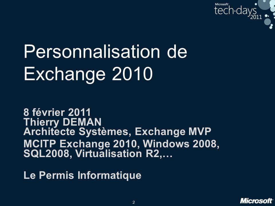 Personnalisation de Exchange 2010