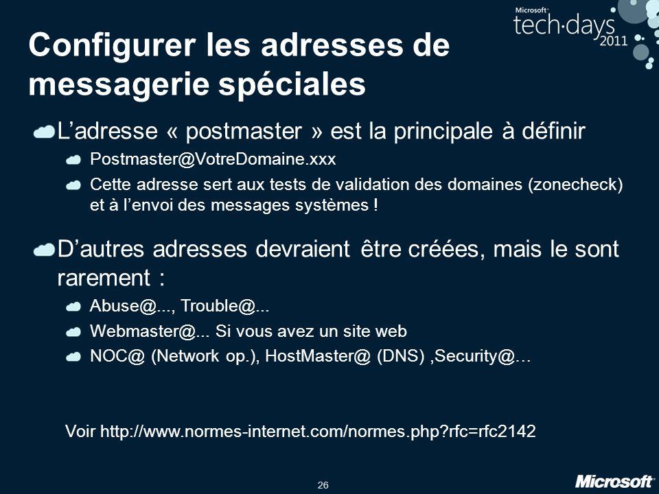 Configurer les adresses de messagerie spéciales