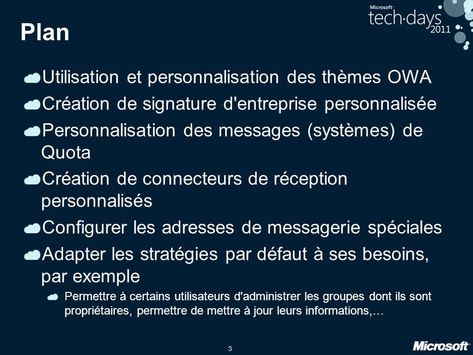 Plan Utilisation et personnalisation des thèmes OWA