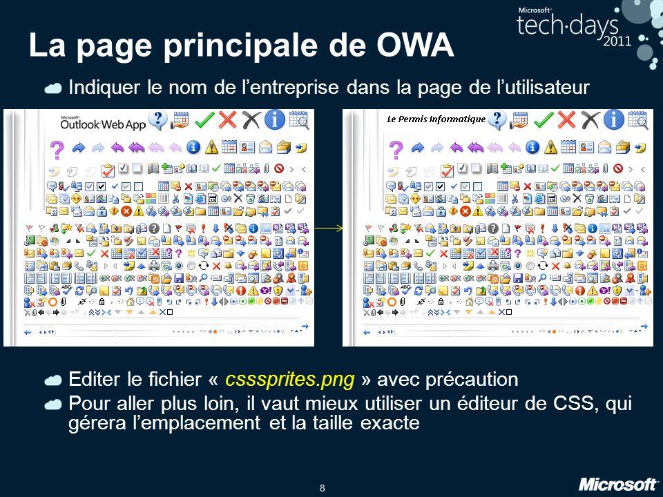 La page principale de OWA