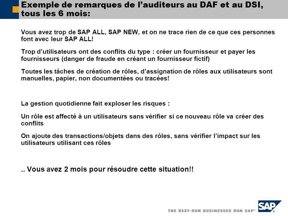Exemple de remarques de l'auditeurs au DAF et au DSI, tous les 6 mois: