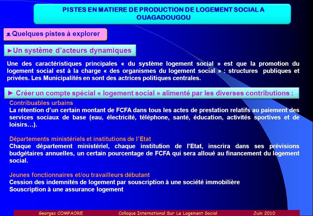 PISTES EN MATIERE DE PRODUCTION DE LOGEMENT SOCIAL A OUAGADOUGOU