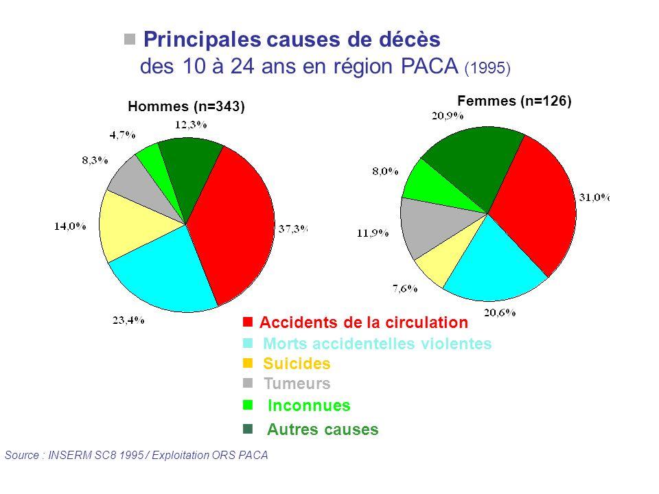Principales causes de décès des 10 à 24 ans en région PACA (1995)