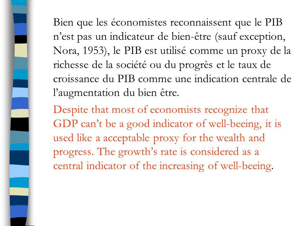 Bien que les économistes reconnaissent que le PIB n'est pas un indicateur de bien-être (sauf exception, Nora, 1953), le PIB est utilisé comme un proxy de la richesse de la société ou du progrès et le taux de croissance du PIB comme une indication centrale de l'augmentation du bien être.