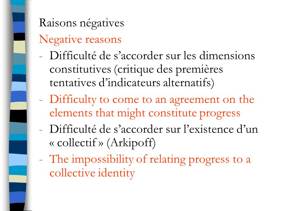 Raisons négatives Negative reasons.