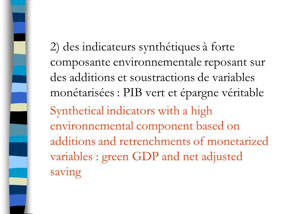 2) des indicateurs synthétiques à forte composante environnementale reposant sur des additions et soustractions de variables monétarisées : PIB vert et épargne véritable