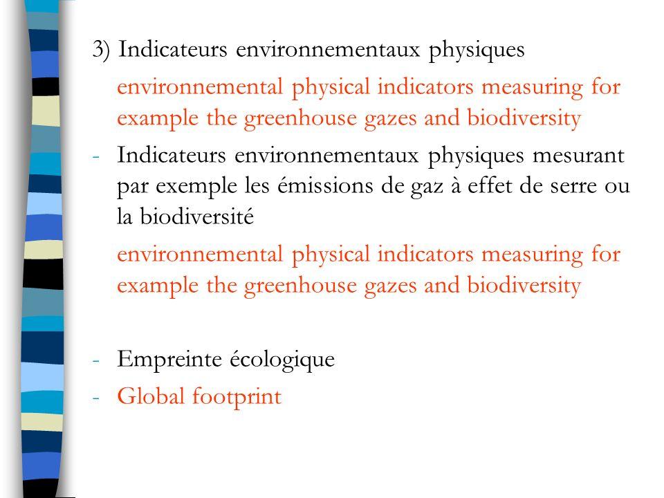 3) Indicateurs environnementaux physiques
