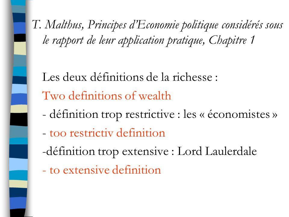 T. Malthus, Principes d'Economie politique considérés sous le rapport de leur application pratique, Chapitre 1