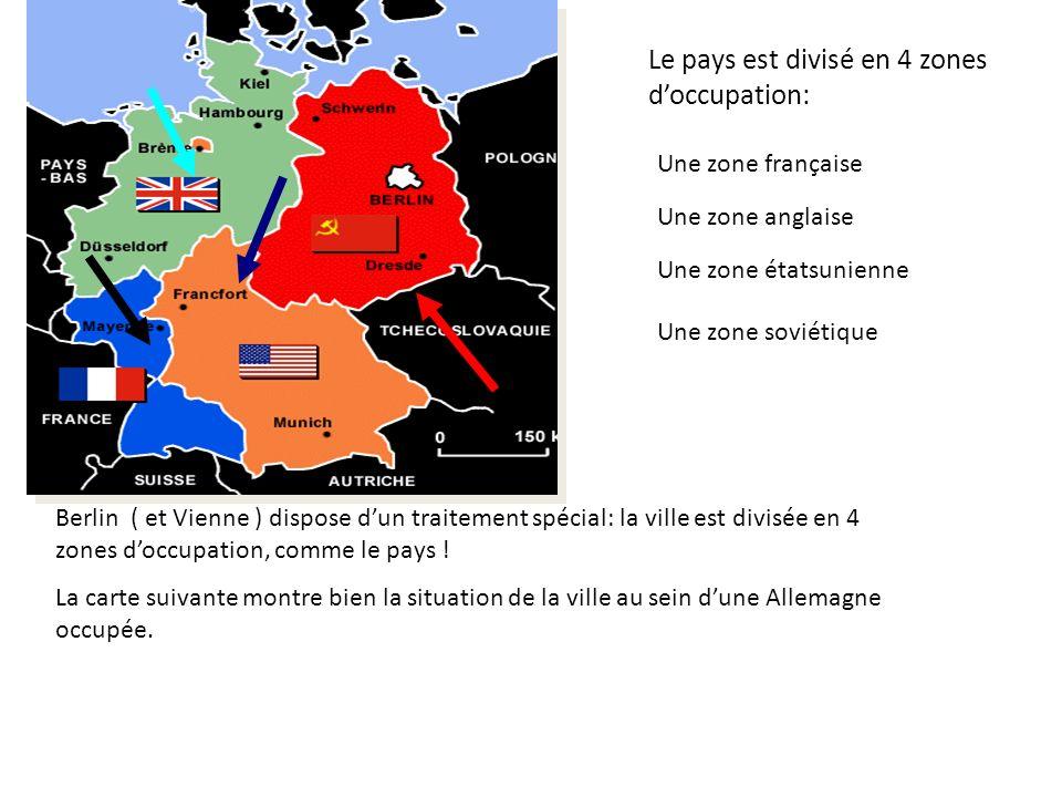 Le pays est divisé en 4 zones d'occupation:
