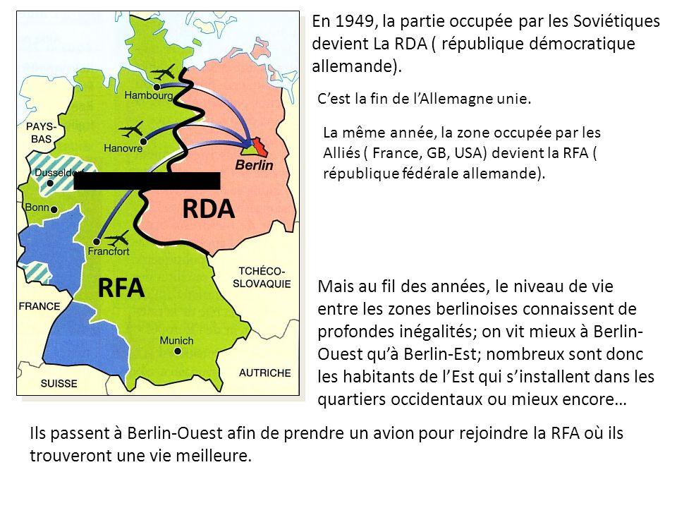 En 1949, la partie occupée par les Soviétiques devient La RDA ( république démocratique allemande).