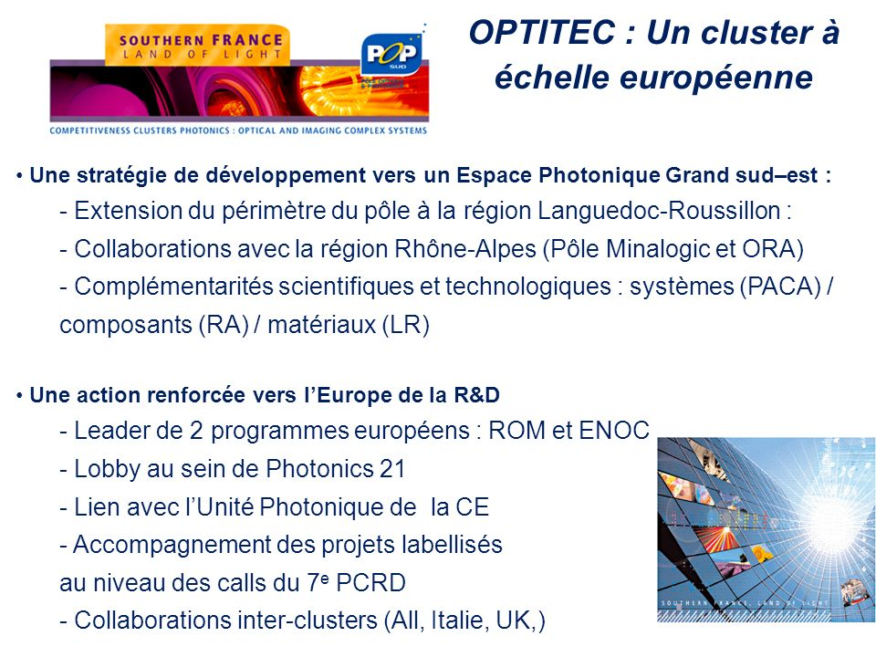 OPTITEC : Un cluster à échelle européenne