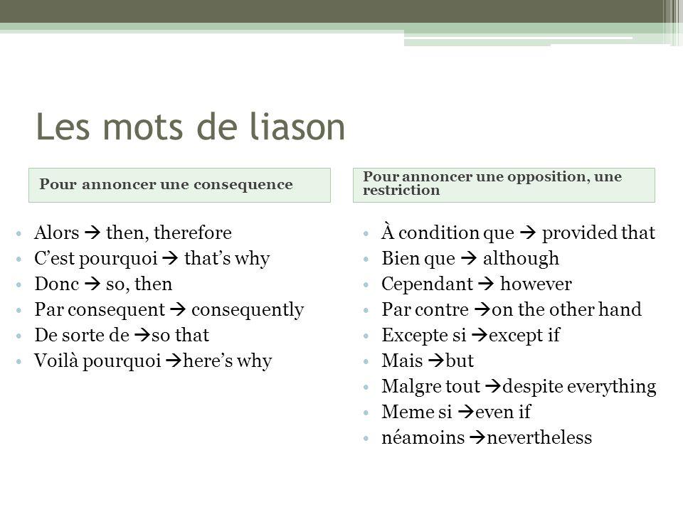 Les mots de liason Alors  then, therefore C'est pourquoi  that's why