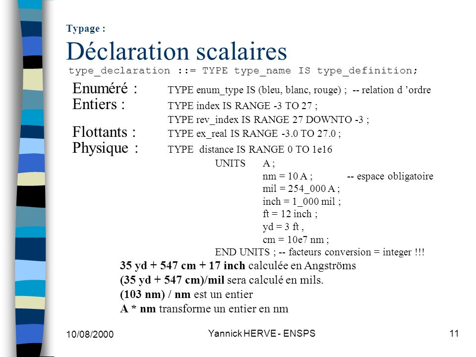 Typage : Déclaration scalaires