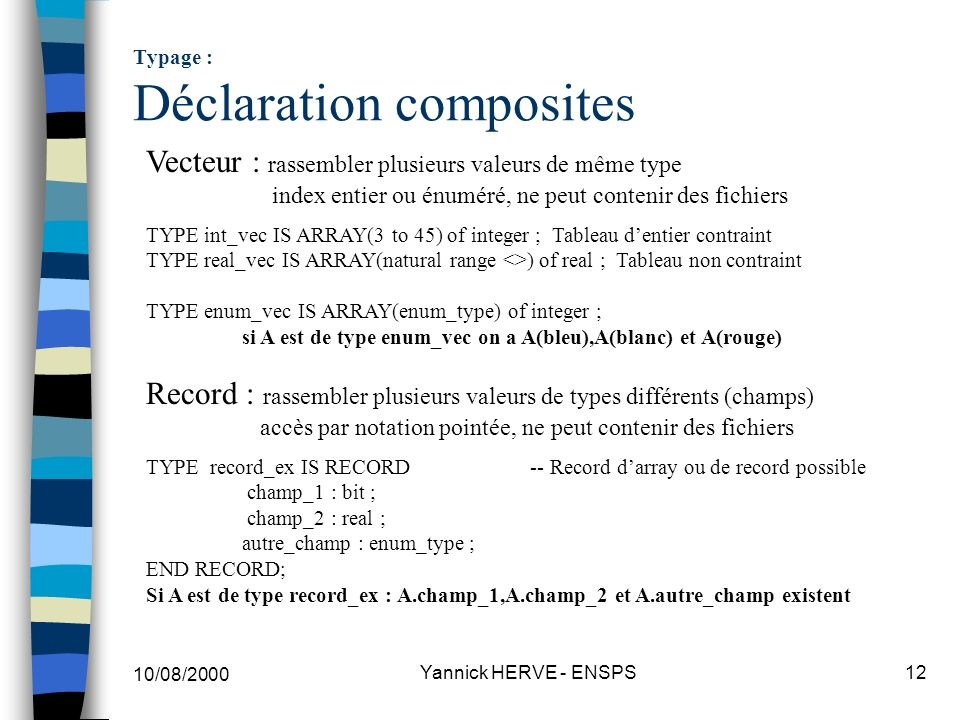 Typage : Déclaration composites